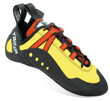 TRIOP RAP An aggressive, anatomically lasted shoe designed for extreme climbing. The elastic Lycra tube under the tongue together with nylon lacing straps that elevate the arch, provides a tight but comfortable fit. Those features are meant to put the climbers feet in a grabbing positions to pull those hard moves on super steep routes.
