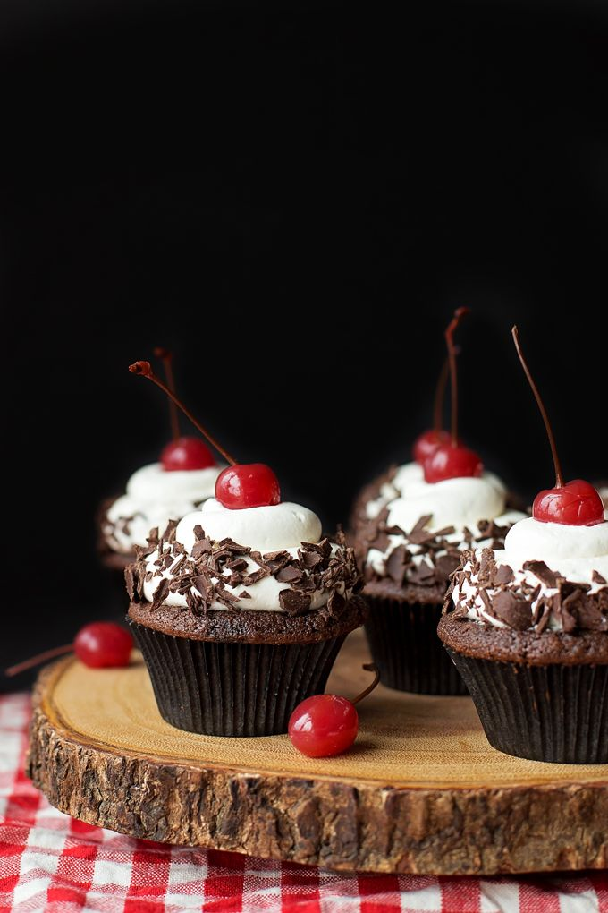 These black forest cupcakes have a moist chocolate base, homemade cherry filling and a freshly whipped cream topping. They're light yet decadent!