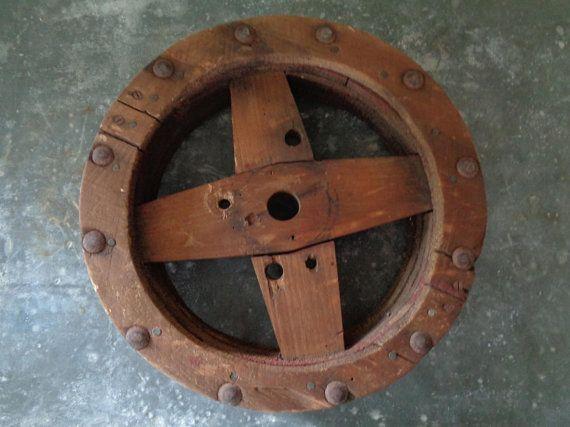 Antique Wooden Belt Pulley Belt Drive Wooden Wheel Wooden Pulley Wheel Wooden Wheel Antiques Primitive Decorating