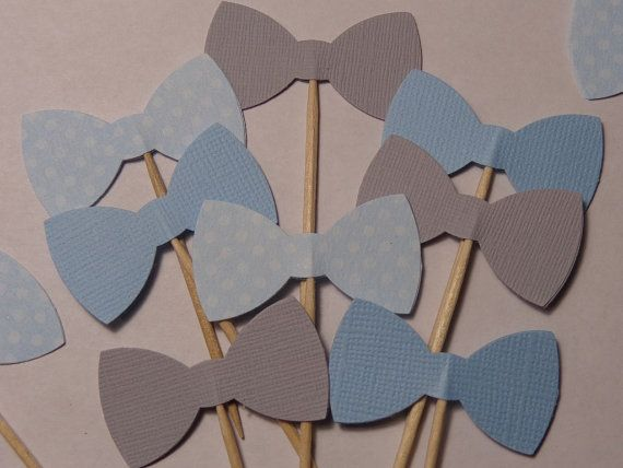 24 Bow Tie Light Blue and Grey BLue Dot Cupcake Toppers - Food Picks - Party Picks - Bowtie, Bowties, $7.95