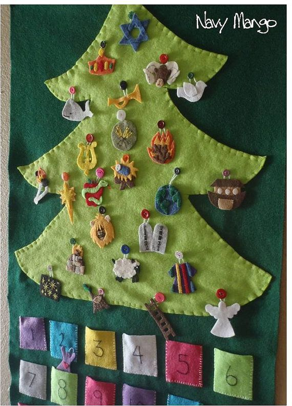 PDF Pattern and Tutorial for a set of Hand Embroidered Felt Jesse Tree Ornaments. $11.00... this is perfect!