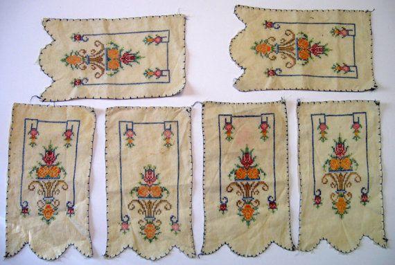 Primitive Lot of  6 Cross Stitch Vintage Linen by NormasTreasures
