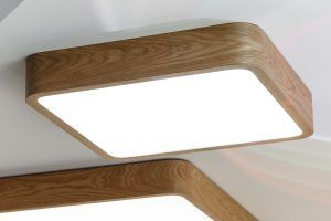 Square wood lamp with Samsung's LED's inside. Ceiling or suspended mounting.