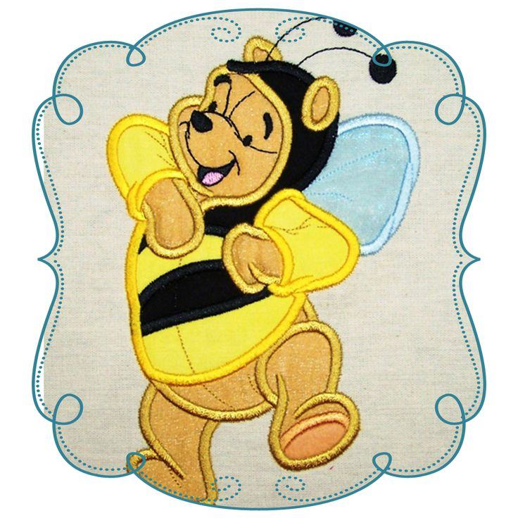 Winnie The Pooh Applique Machine Embroidery Design Pattern-INSTANT DOWNLOAD