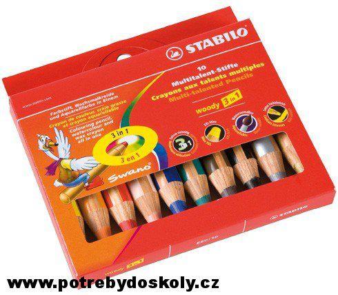 woody 10 barev 3 v 1 - pastelka, voskovka a akvarelová pastelka v jednom