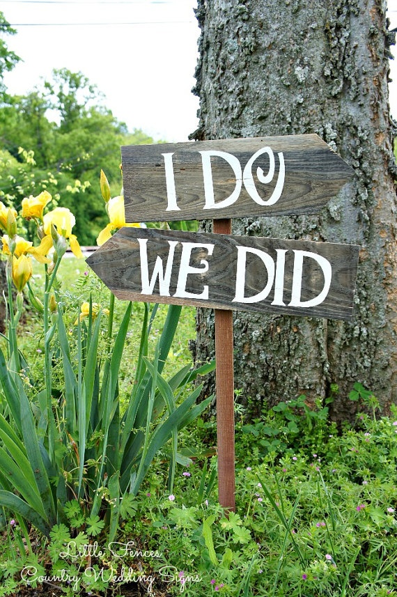 I do, We did Arrow Wedding Signs, Signage, Decorations, Outdoor Wedding Decor, Wooden Directional Signs