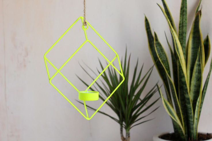 Neon hanging tealight holder Fairtrade, Handmade and Natural - The Comfi Cottage