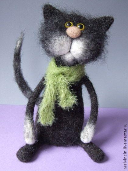 Needle felted Kitty...  http://www.livemaster.ru/item/3826777-kukly-igrushki-kot-sigizmund