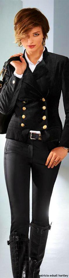 Madeleine ~ Black Double Breasted Jacket w Skinny Jean 2015