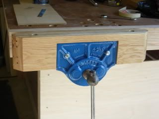Bench vise with oak flooring cheeks