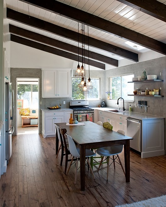 Exposed beams, pretty kitchen