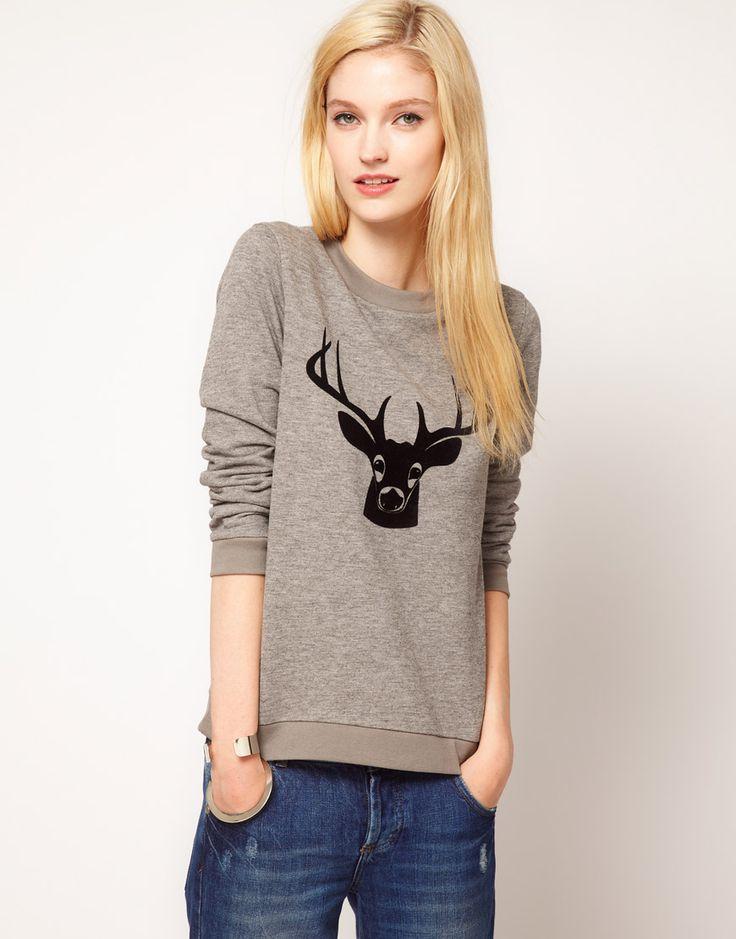 Boutique by Jaeger Deer Print SweaterShop, Jaeger Deer, Deer Sweaters, Deer Prints, Deer Sweatshirts, Deer Head, Christmas Sweaters, Prints Sweatshirts, Prints Sweaters