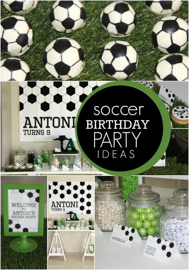 Boy S Soccer Themed Birthday Party Soccer Themed Birthday Party Ideas Supplies Decorations And I Soccer Theme Parties Soccer Birthday Parties Soccer Birthday