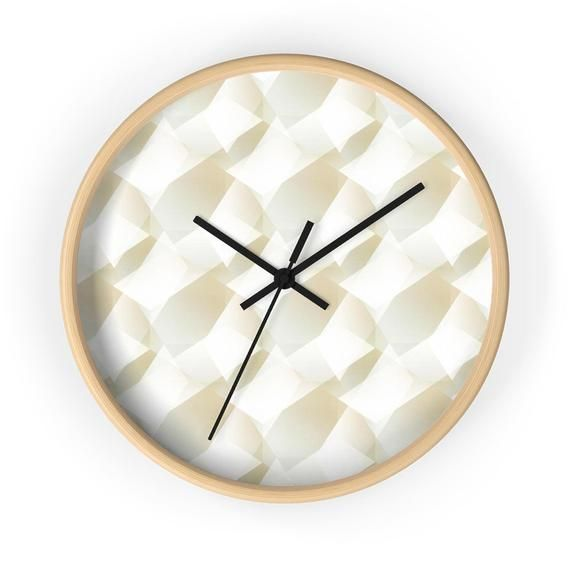 Geometric Wall Clock Silent Design Wall Clock In Off White Etsy In 2020 Wall Design Office Wall Clock Wall Clock Modern