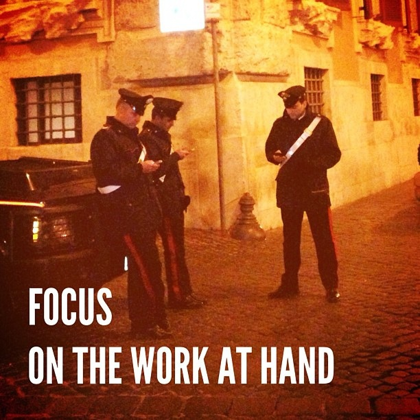 Focus on the work at hand. #onethingatatime #italy #rome #police #attention #focus #work #pride #picoftheday by @dadailydo, via Flickr