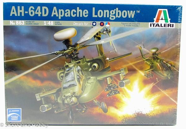 """This AH-64D Apache Longbow plastic model helicopter kit is made by Italeri in 1/48 scale. """"D"""" model equipped with """"Longbow"""" radar Decals for 3 versions - US, UK"""