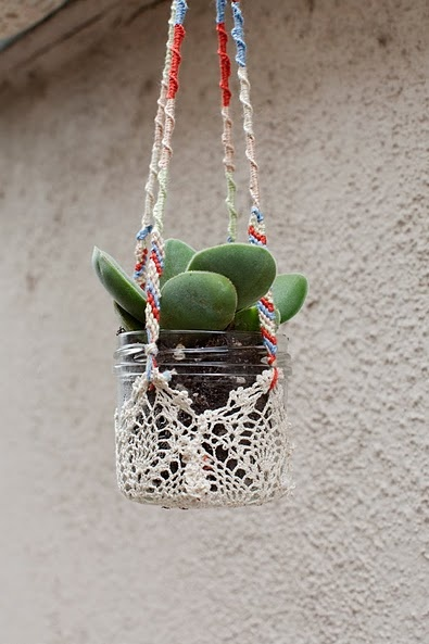 hanging plants with mason jars & doilies