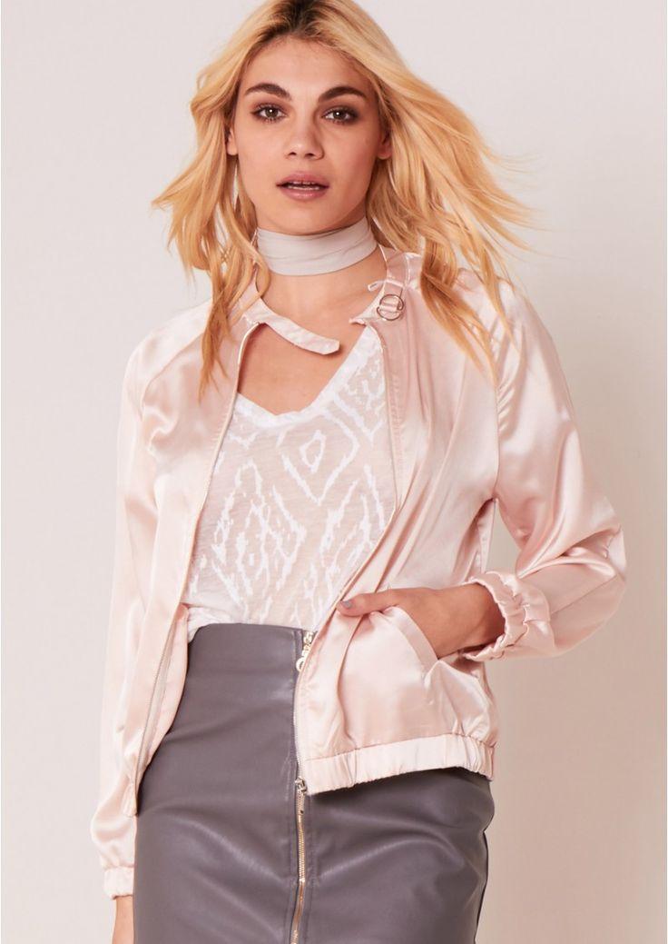 Molly Pink Satin Bomber Jacket