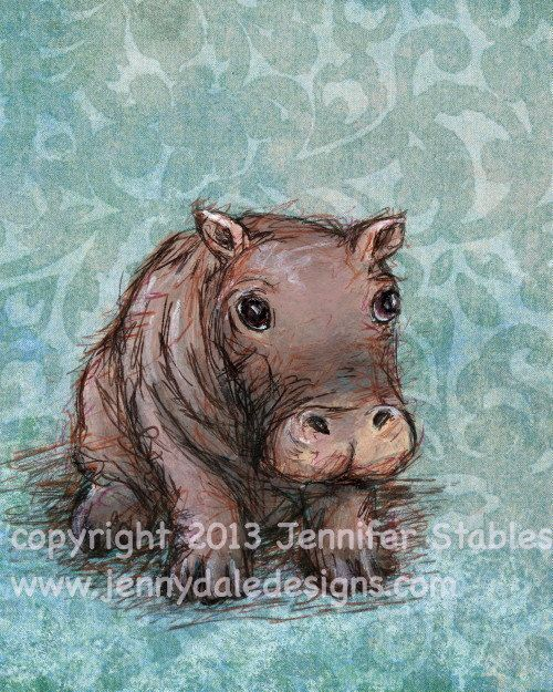 Little Hippo- cute hippo art with blue-green background- hand signed art print on Etsy, $23.00 CAD