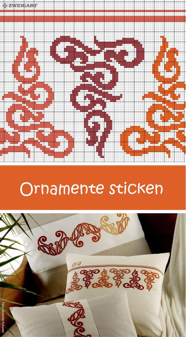 Kissen mit stilvollen Ornamenten in Rot-Orange-Tönen sticken #Sticken / #Kreuzstich / #Kissen; #Embroidery / #Crossstitch / #cushion / #ZWEIGART