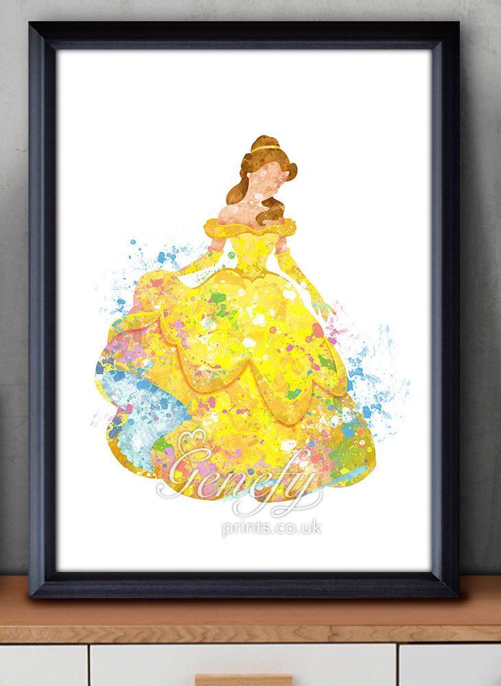 Disney Princess Belle Beauty and the Beast Watercolor Poster Print - Watercolor Painting - Watercolor Art - Kids Decor- Nursery Decor by GenefyPrints on Etsy https://www.etsy.com/listing/252288756/disney-princess-belle-beauty-and-the