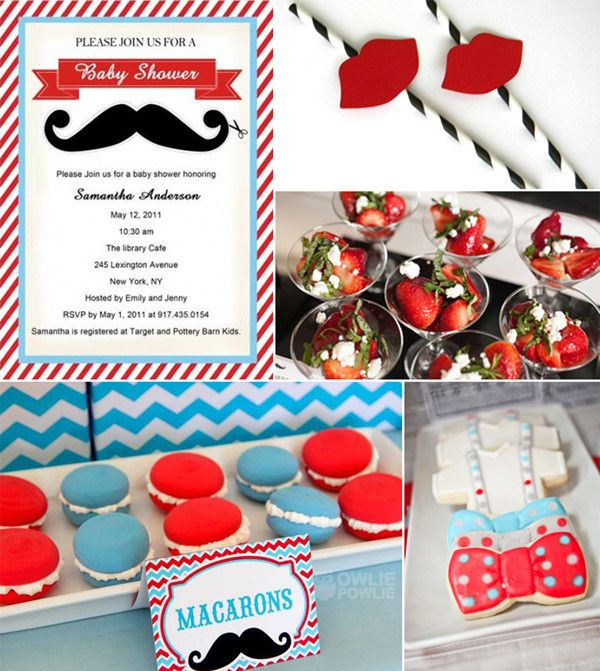 red and blue mustache baby boy shower ideas and invitations