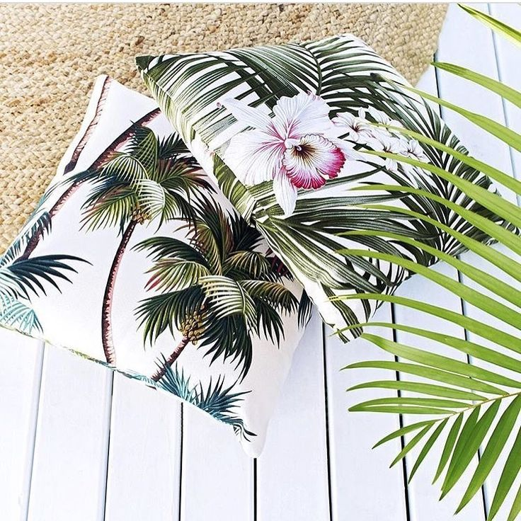 H A W A I I 🌴  Hawaiian Palm & Orchid cushions by A Colourful Life Byron Bay