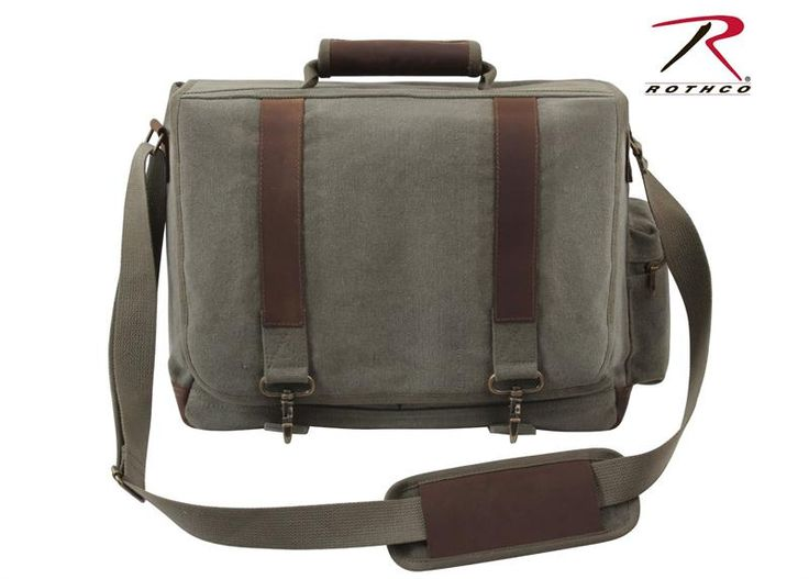 Rothco Vintage Canvas Pathfinder Laptop Bag With Leather Accents - $41.49