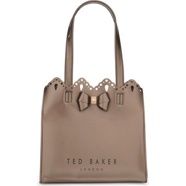 TED BAKER Idacon scalloped small shopper ($43) ❤ liked on Polyvore featuring bags, handbags, tote bags, brown shopping bags, brown tote bags, laser cut tote bag, laser cut tote and ted baker tote bag