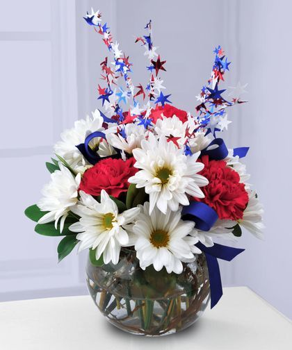 21 best patriotic flowers centerpieces images on for Red white blue flower arrangements