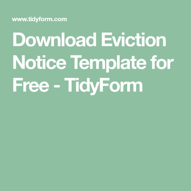 Download Eviction Notice Template for Free - TidyForm