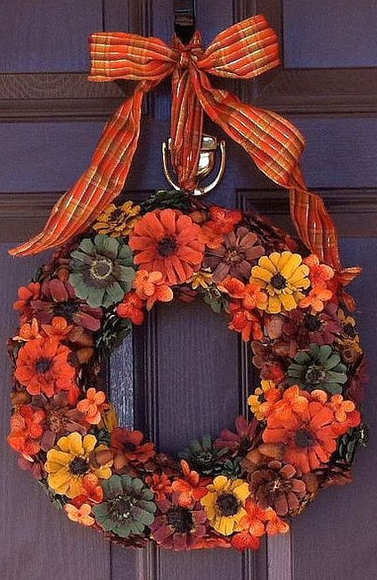 Dyed or Painted Pinecone Wreath