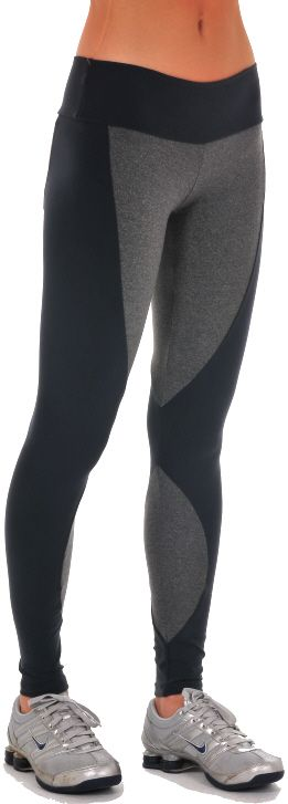 """Bia Brazil Shadow Legging – Leggings compliment your figure with its wide 3"""" waistband and dual colored legs. Has a gray mix on inner legs. Lower legs have emerging half circles. Low-rise. #LE 2816 Supplex/Lycra   Colors: Charcoal/Heather Gray (shown)  Price: $71.95"""