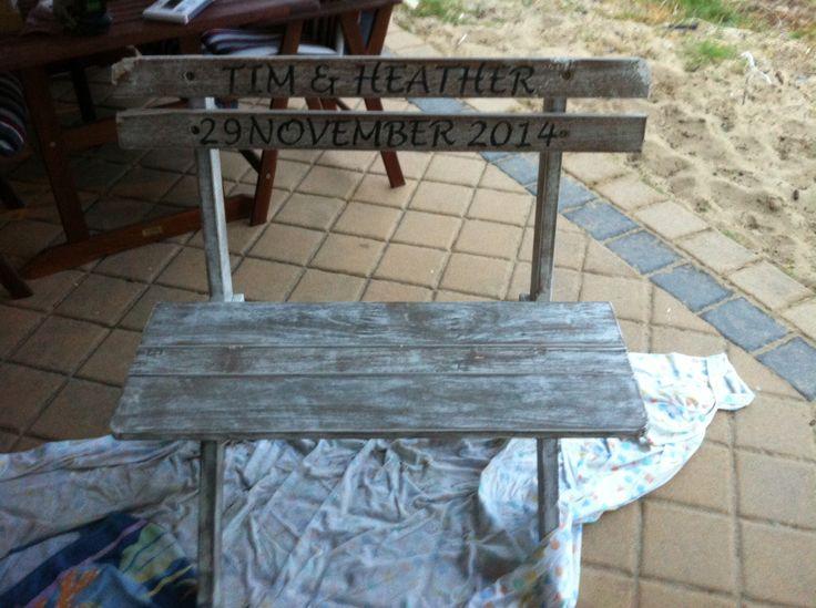Personalised wedding bench