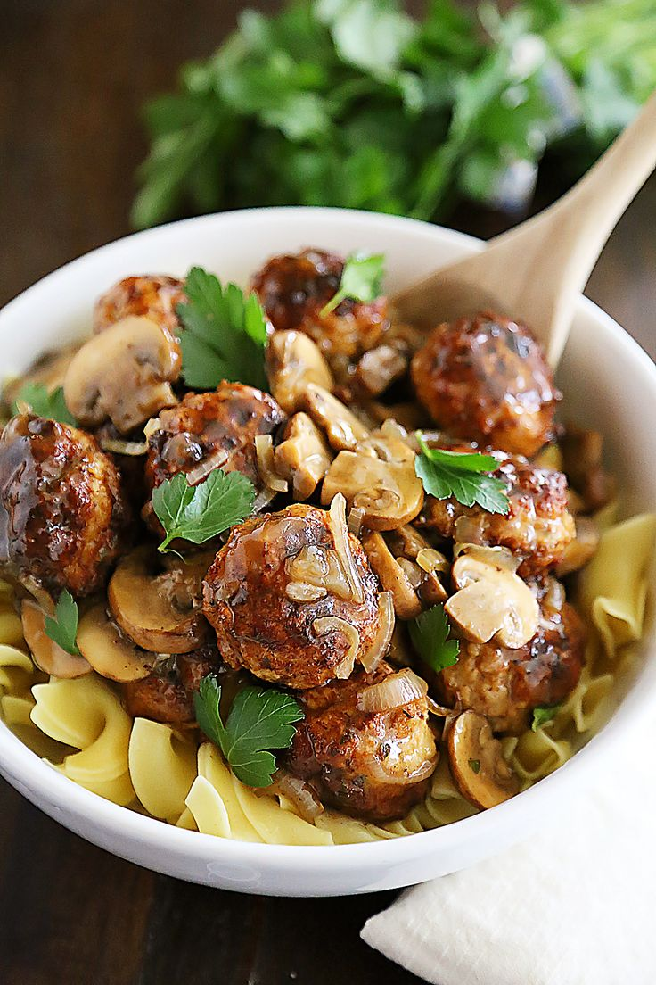 Chicken Marsala Meatballs – So tender and flavorful! Crispy, juicy meatballs with mushrooms in a tangy Marsala sauce.