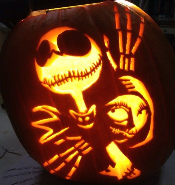 My pumpkin carving of Jack and Sally