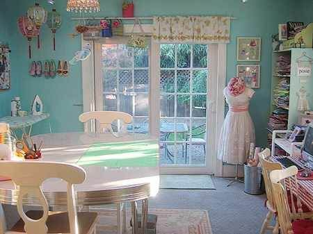 When I grow up, I want this crafting space.Wall Colors, House Tours, Room Inspiration, Blue Walls, French Doors, Crafts Room, Sewing Room Organic, Sewing Rooms, Craft Rooms
