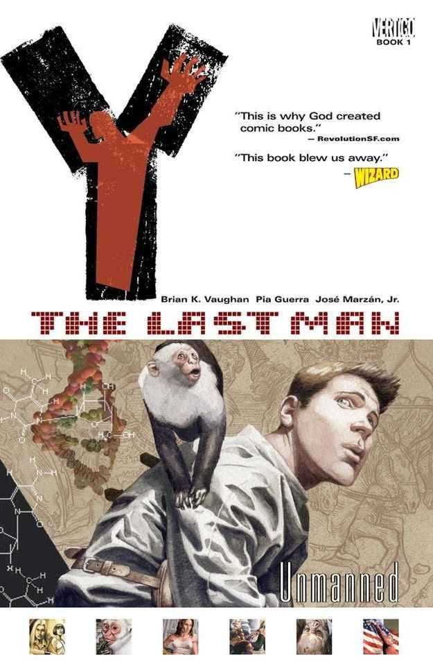 Y: The Last Man, by Brian K. Vaughn and Pia Guerra  I've been reading this series for the past couple weeks and I don't want it to end!! I'm sad because I only have one more book left.