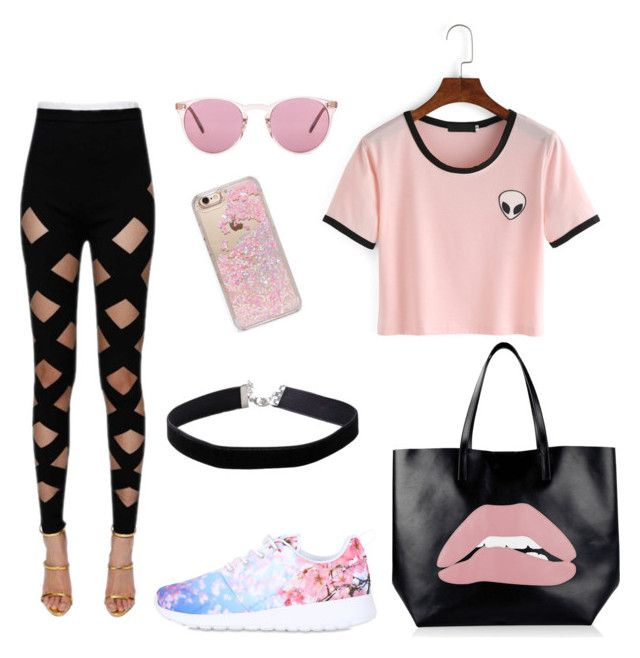 """"""""""" by martyna-janas on Polyvore featuring moda, Balmain, NIKE, RED Valentino, Oliver Peoples, Skinnydip i Miss Selfridge"""