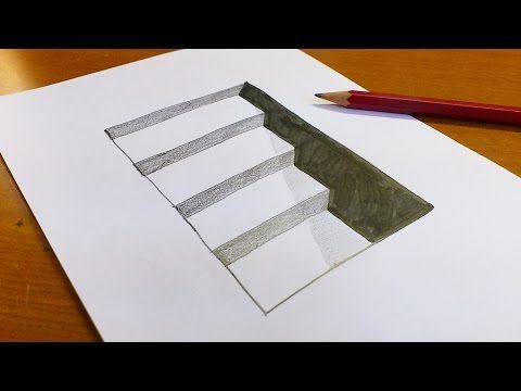 Very Easy!! How To Draw 3D Hole & Stairs for Kids - Anamorphic Illusion - 3D Trick Art on paper - YouTube
