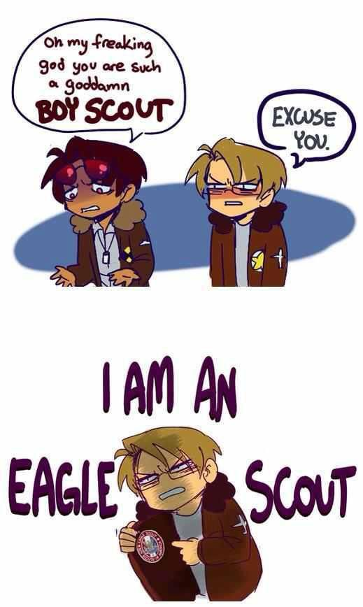 Hetalia - You don't mess with an Eagle Scout, son.//--nah, give it to him senpai