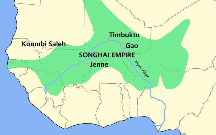 Extensión del Imperio songhay (ss. VII-XVI). // SONGHAI empire map ◆Níger - Wikipedia https://es.wikipedia.org/wiki/N%C3%ADger #Niger