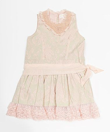 Unique! $36, only available in size 2, sniff. Peach & Green Floral Lace Ruffle Dress -by Trish Scully Child. This picture doesn't do it justice . . . I saw it on another (USA ) site for $90 and it almost looked worth it! USA # canada #kids #childrens #clothing #online