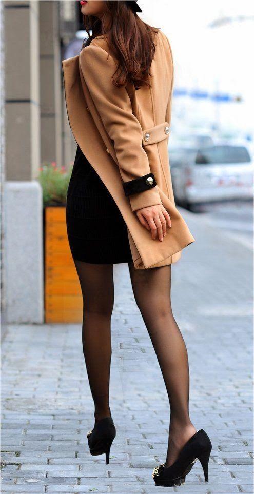 Camel long coat and black heels