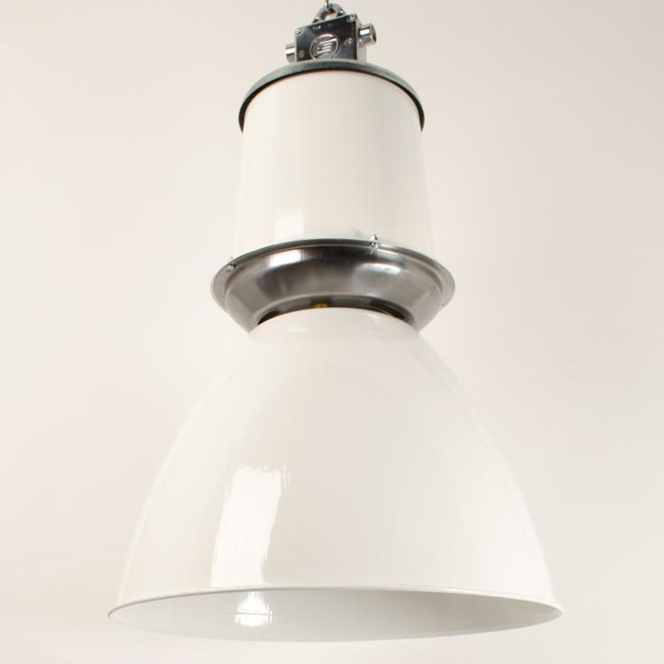 Giant Czech Pendant Light -White- - Substantial vintage industrial downlighters reclaimed from communist-era factories in the Czech Republic.  Re-painted white exterior and white interior with polished aluminium and steel fittings.  Can be supplied re-painted in any RAL colour on...