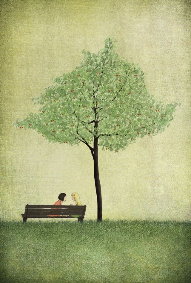 Under the cherry tree, summer. By Majali - Design & Illustration. #nordicdesigncollective #summer #sommar #hellosummer #green #nature #season #vacation #warm #sun #sunshine #sunny #majali #majalidesignandillustration #swedishillustrator #cherry #cherrytree #cherries #berry #berries #fruit #red #green #bench #grass #park #poster #print #girl #girls