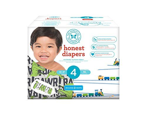 Honest Baby Diapers, Club Box, T-Rex & Trains, Size 4, 60 Count  We took all of the things you need (and want!) in a diaper - advanced leak protection, a secure fit, softness and comfort - and made it Honestly amazing with hypoallergenic and sustainable materials*.  Super-absorbent core with fluff pulp harvested from sustainably managed forests  Secure-fitting moisture barrier cuffs help prevent leakage & blowouts  Purely gentle - made without chlorine or bleach processing, latex, synt...