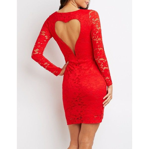 Charlotte Russe Heart Back-Cut-Out Lace Bodycon Dress ($33) ❤ liked on Polyvore featuring dresses, red, sexy red dress, red cocktail dress, bodycon midi dress, sexy cocktail dresses and long-sleeve lace dress