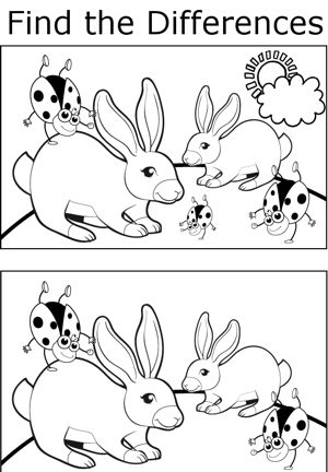 A number of differences can be found between the two pictures of ladybugs doing handstands on rabbits' backs.