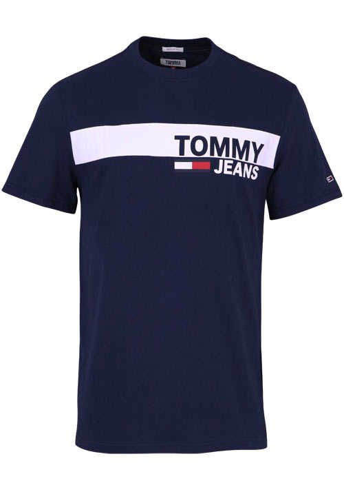 39f9cb11fe01e TOMMY JEANS Halbarm T-Shirt Rundhals Schrift-Print navy | Tommy ...